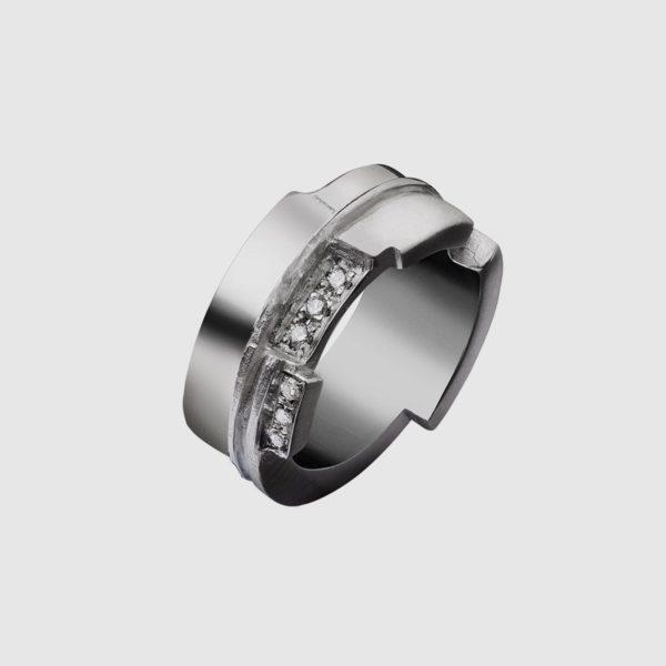 Anello in argento 925 con Rubini e Diamanti