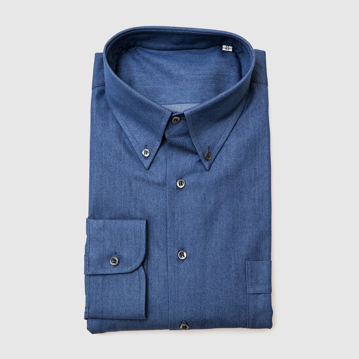 Double-twisted cotton denim shirt