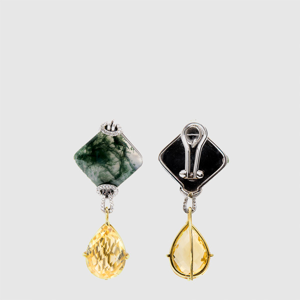 Pendants earrings with natural musk Agate