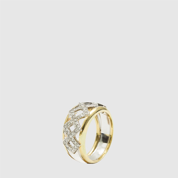 White and Yellow Gold band ring