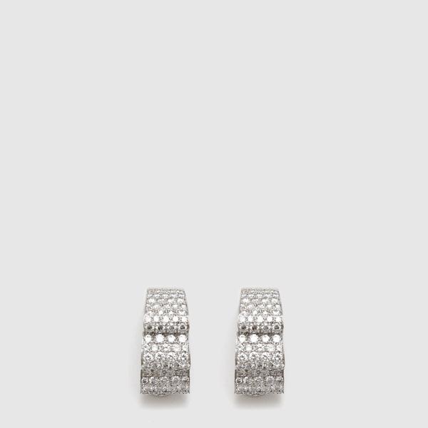 "White Gold earrings ""ribbon"" shaped"