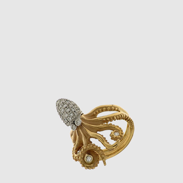 Octopus ring in pink and white Gold