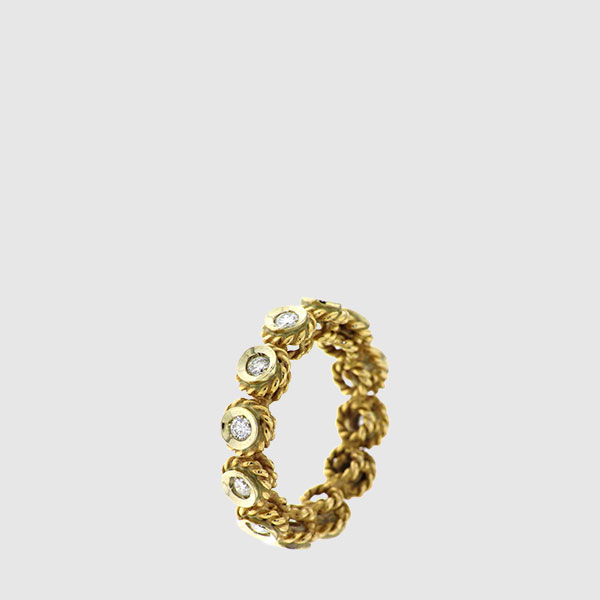 Band ring with braid finish in yellow Gold