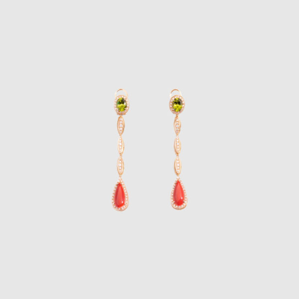 Pink Gold drop earrings with rare dark Coral