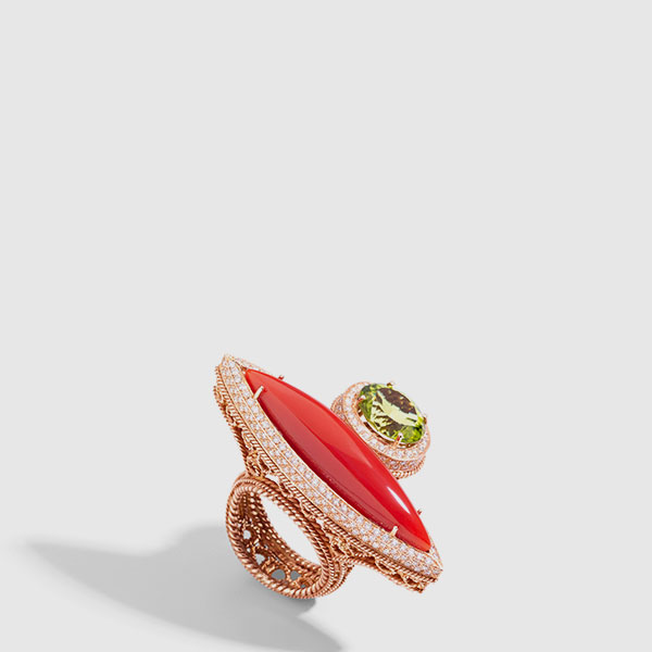 Pink Gold navette ring with dark coral