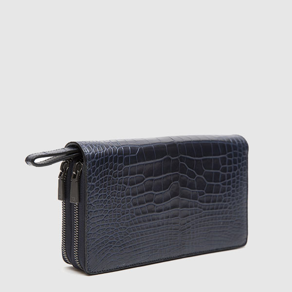 Clutch wallet in genuine Crocodile leather