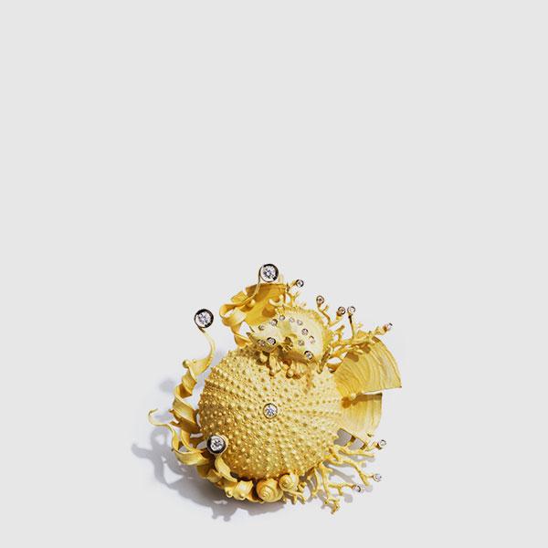 Ciondolo riccio Oro giallo e Diamanti