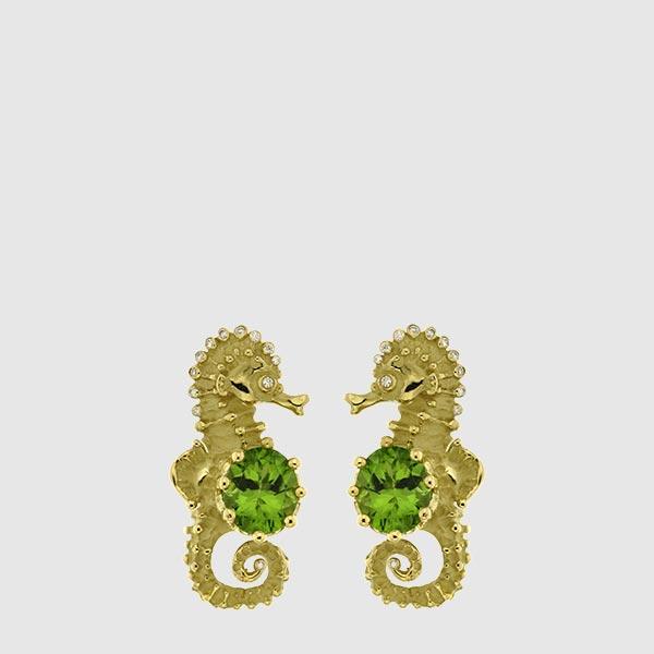 Sea horses earrings in yellow Gold