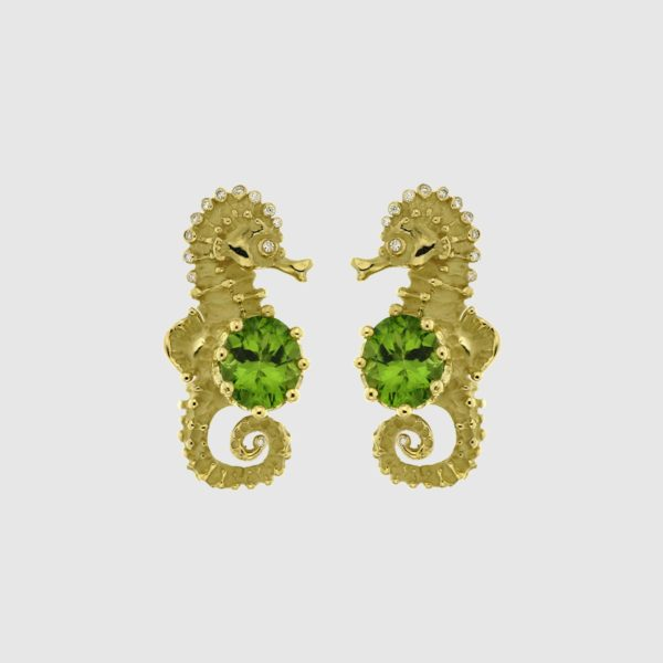 Sea horses earrings in yellow Gold