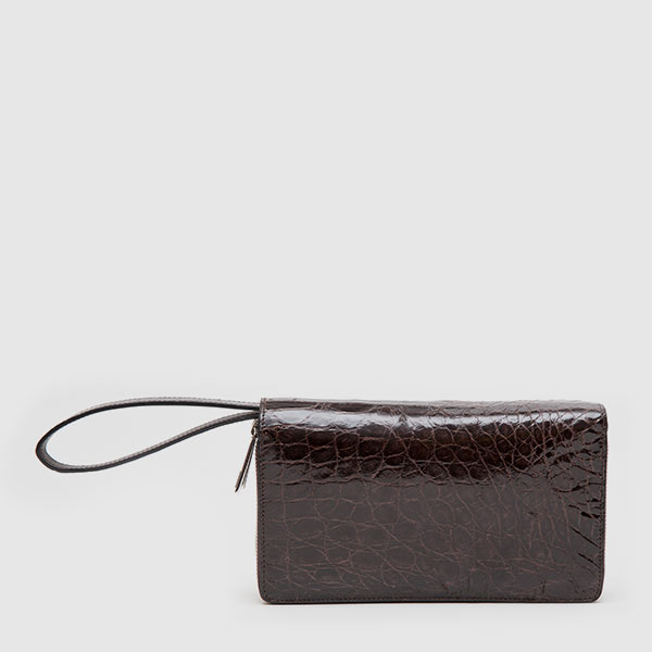 Clutch wallet in genuine glossy Crocodile leather
