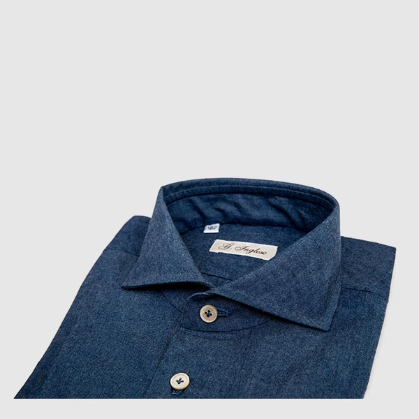 Denim shirt with a French collar