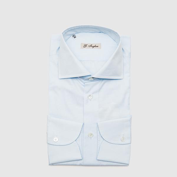 Camicia in Cotone Microcheck Celeste
