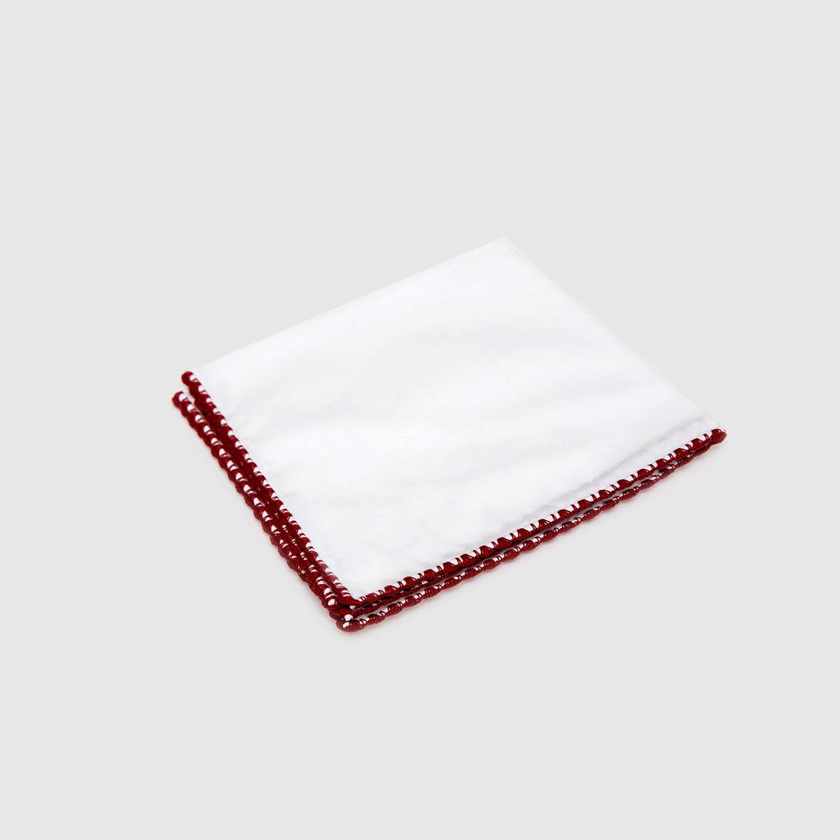 Pochette in puro Lino bianco Punto Ventaglio