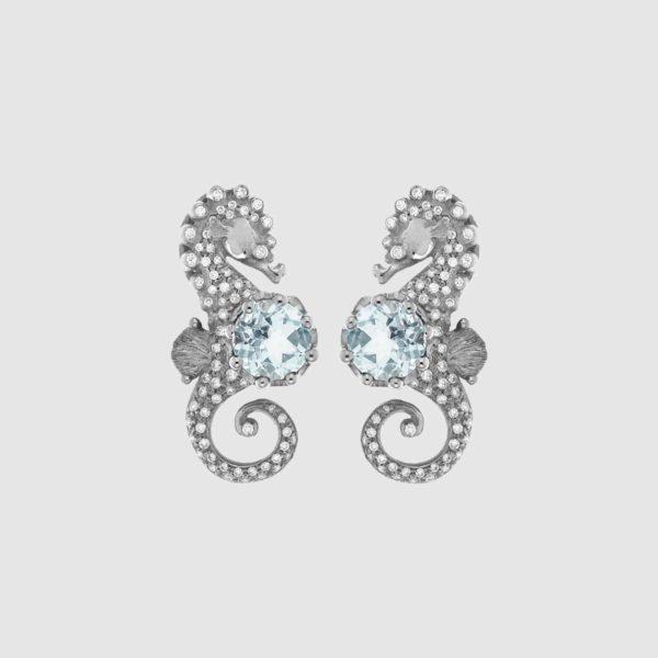 Orecchini Ippocampi oro bianco acquamarina e diamanti