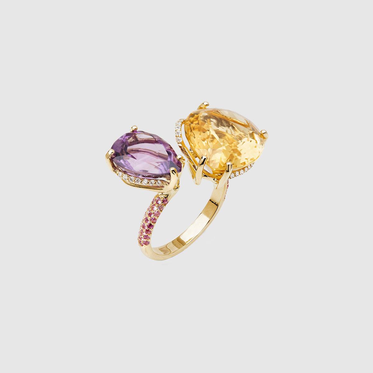 Anello contrariè in Oro giallo 750
