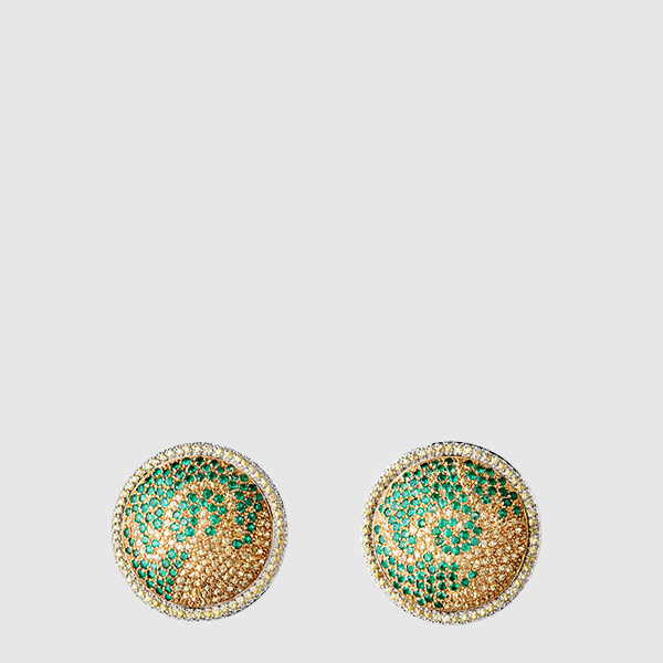 White and Yellow Gold rounded shaped earrings