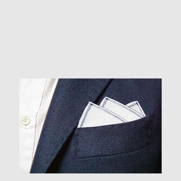 Extra fine white Popeline pocket square