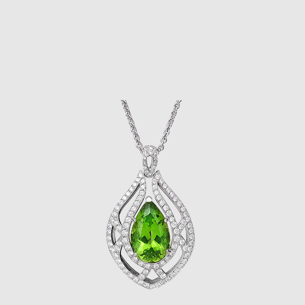 Pendant diamonds and faceted drop peridot