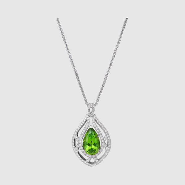 Pendant diamonds and faceted drop peridot