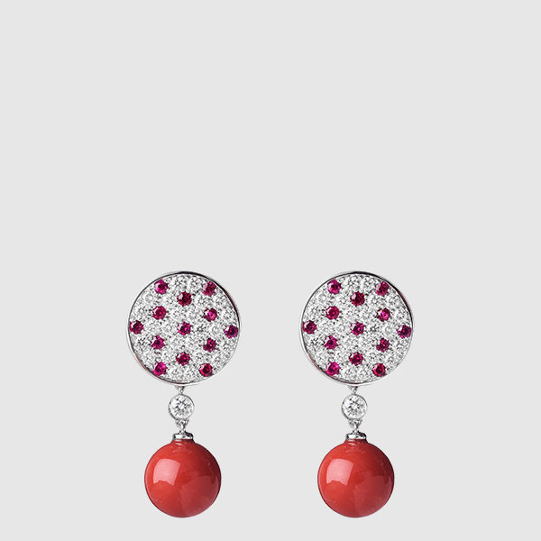 White gold earrings Burma Rubies