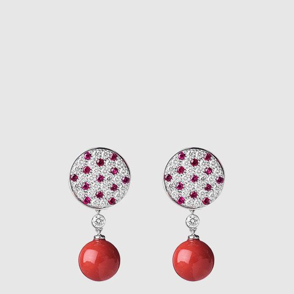 Orecchini rubini e corallo