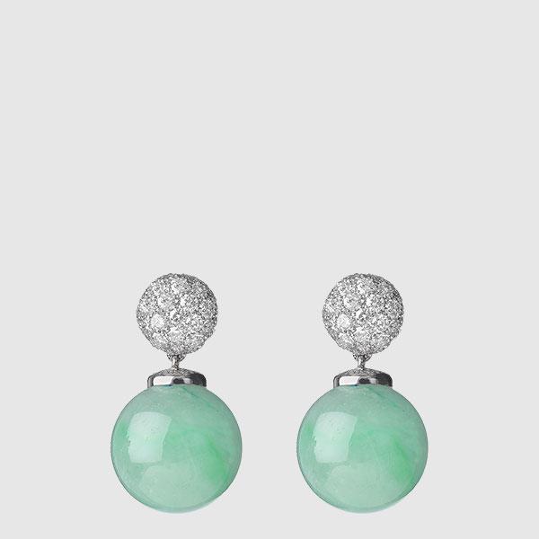 Earrings withspherical Burma jades