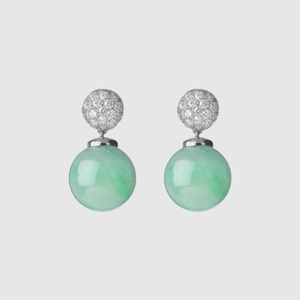 Earrings with spherical Burma jades