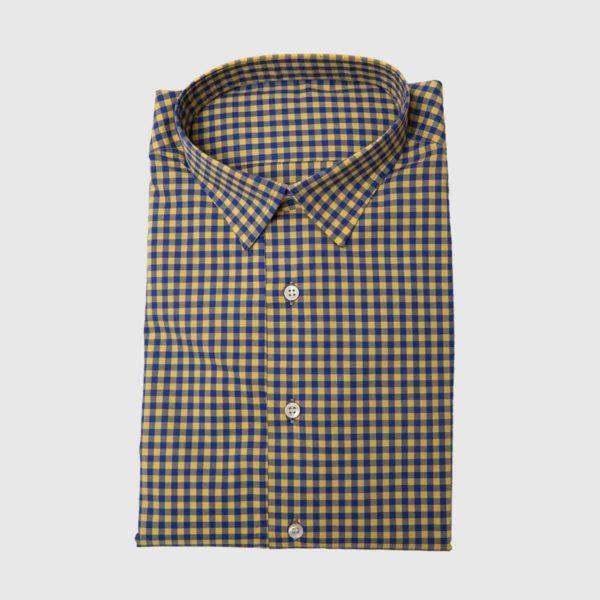 Camicia quadri blu giallo