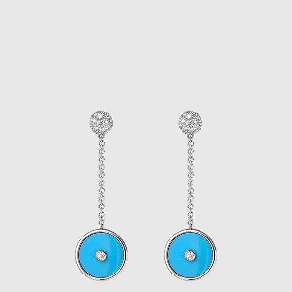 White Gold earrings Turquoise disks