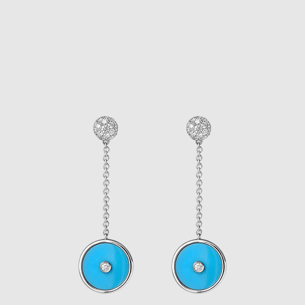 White Gold earrings Turquoise disks