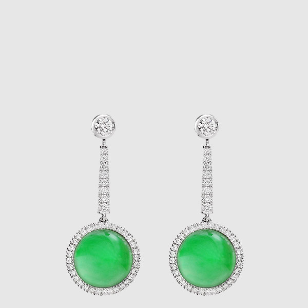 White Gold earrings Diamonds and Burma jade