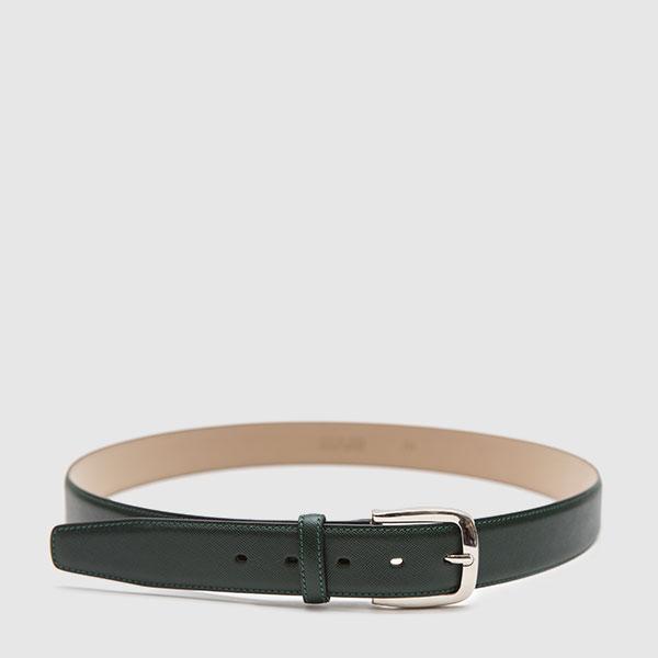 Dark green saffiano calfskin belt