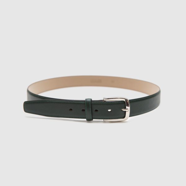 Dark green saffiano calfskin belt