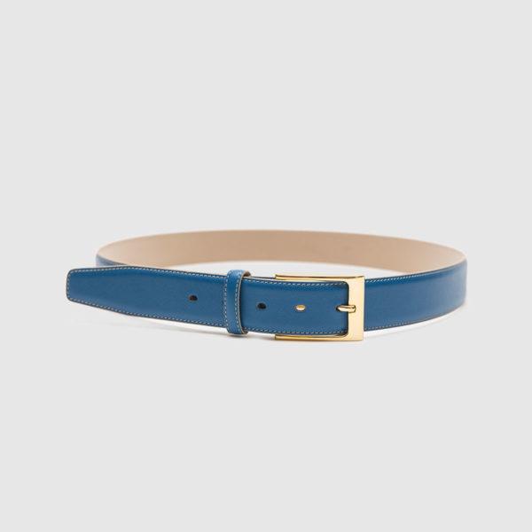 Cintura in vitello saffiano bluette
