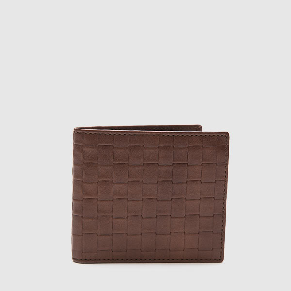 Leather wallet with woven print