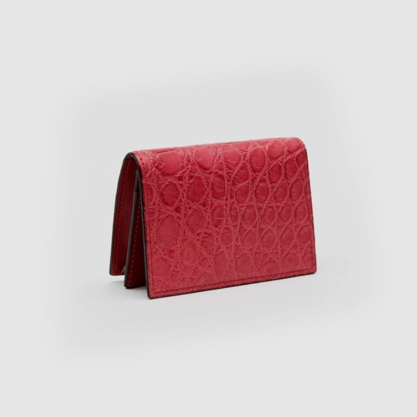 Business cards holder in genuine red Crocodile