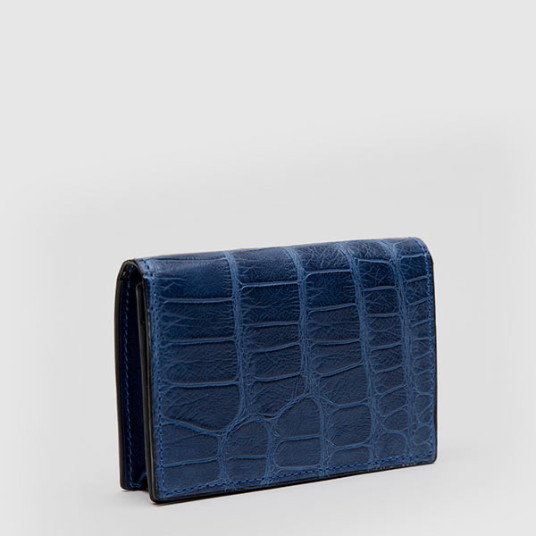 Business cards holder in genuine blue Crocodile