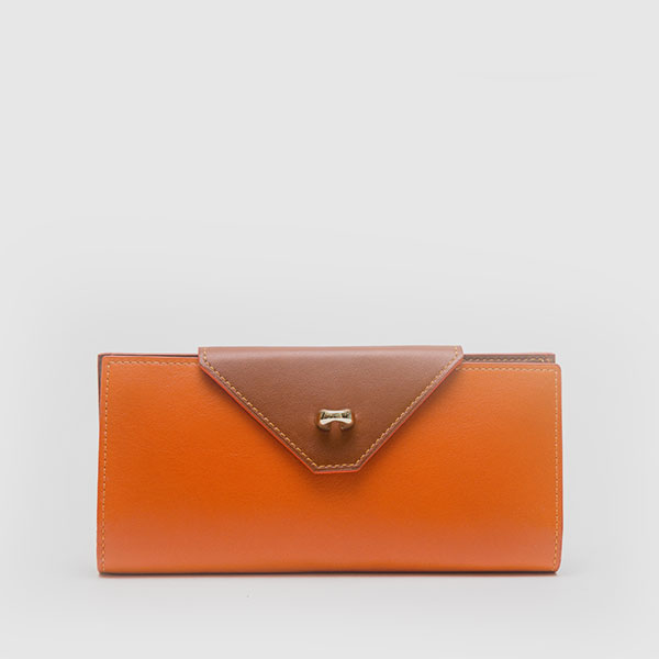 Wallet in genuine orange nappa and leather