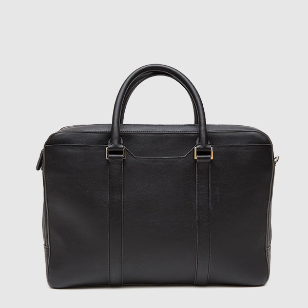 Briefcase in black calf leather