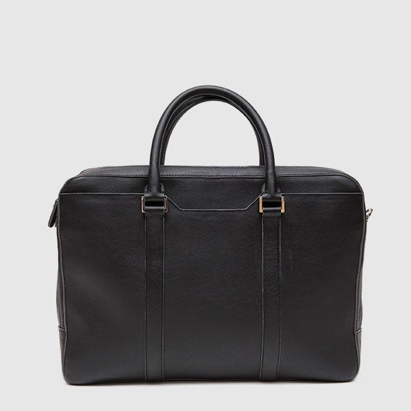 Briefcase in black calf leather