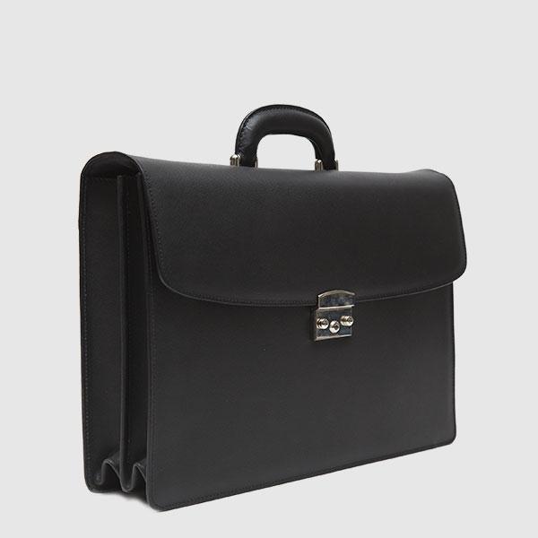 Rigid briefcase in black Saffiano leather