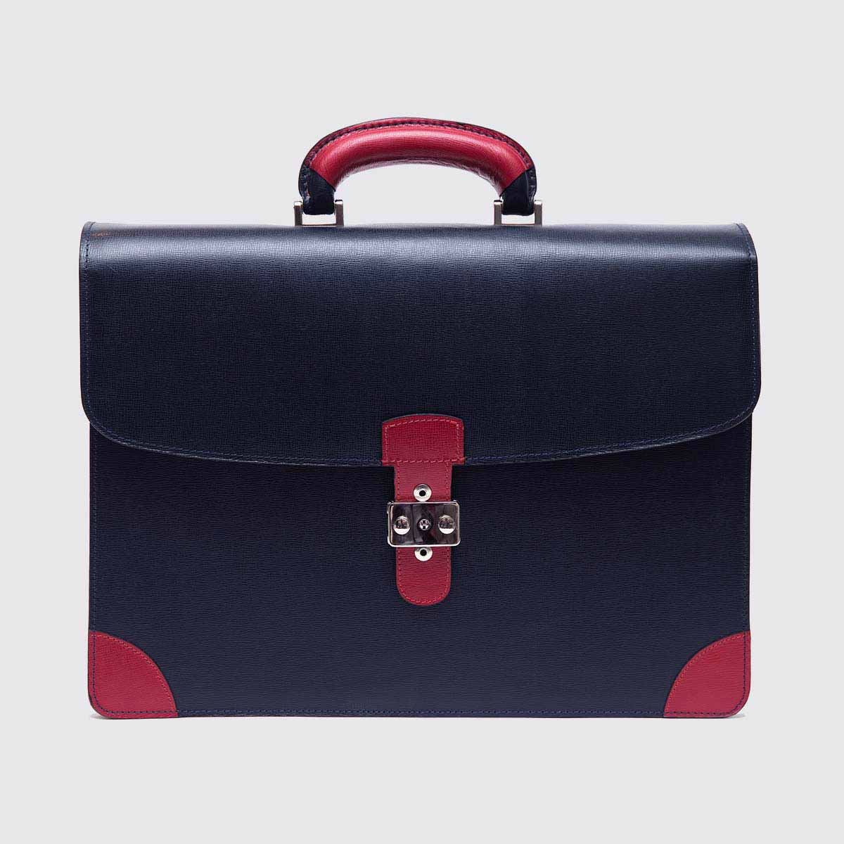 Rigid briefcase in blue navy calf leather