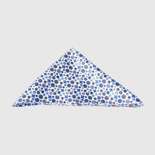 Pochette 100% seta micro-fantasia azzurra