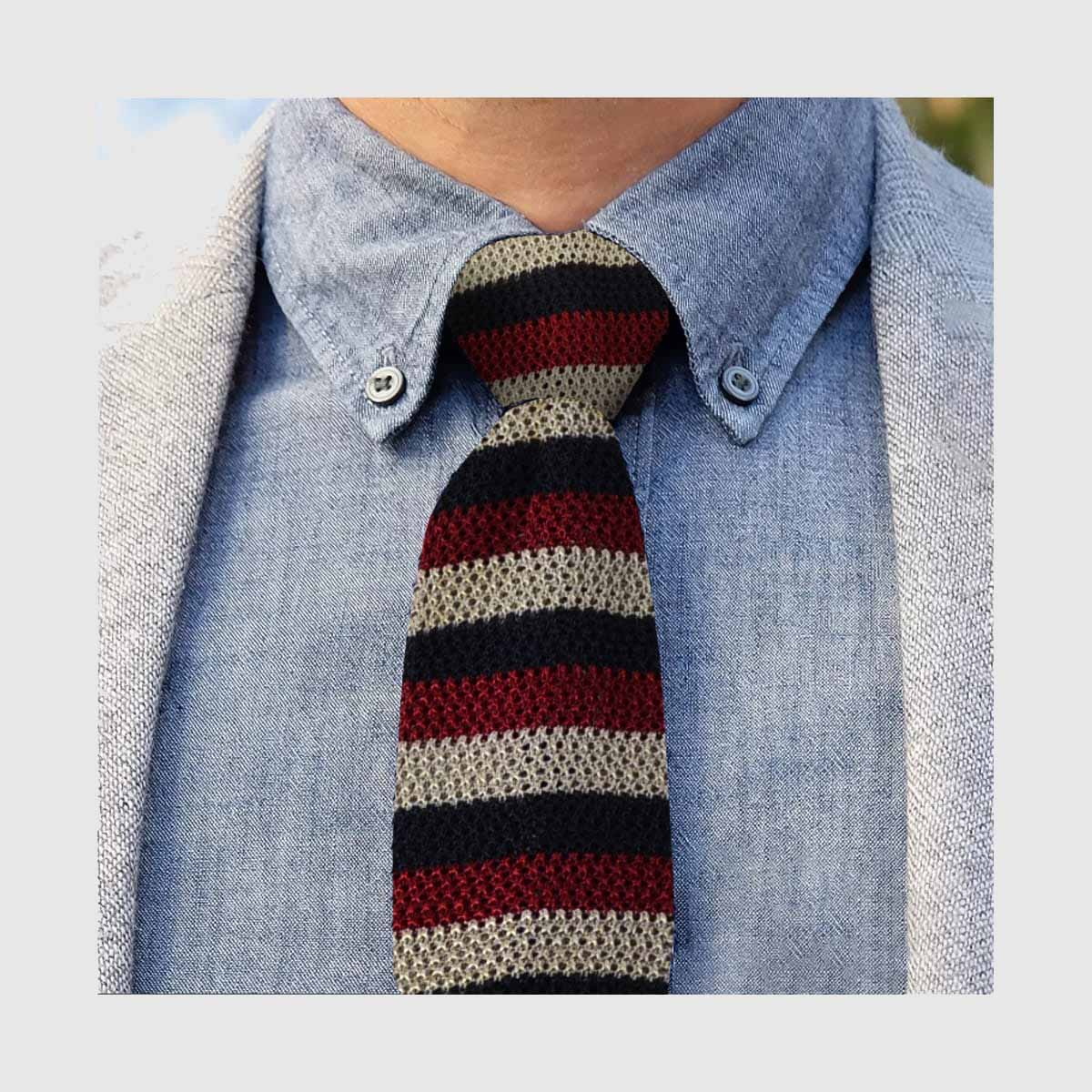 Red and blue Knitted striped tie