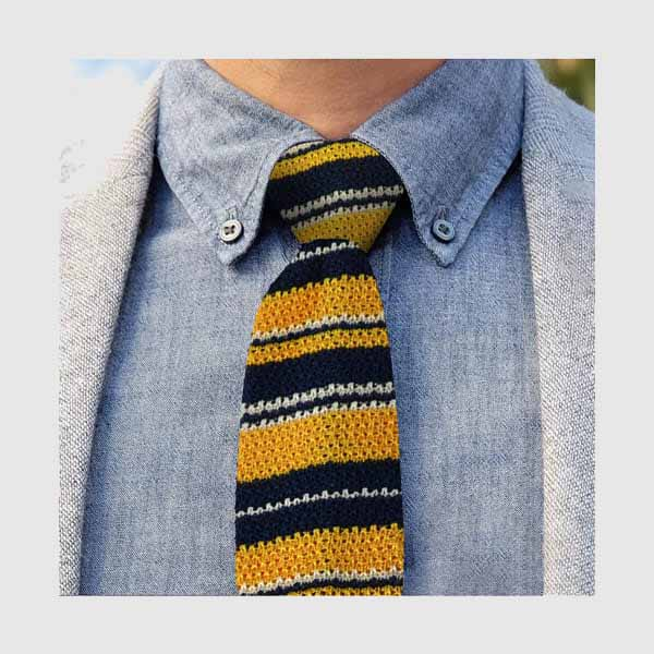 Knitted tie yellow and blue