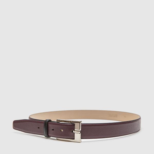 Brown saffiano calfskin belt
