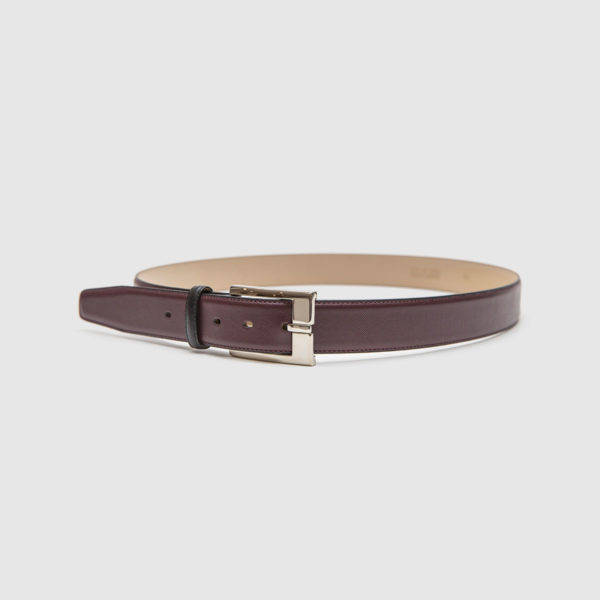 Brown saffiano calfskin belt