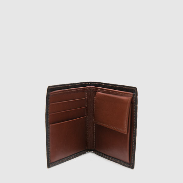 Black leather wallet with woven print