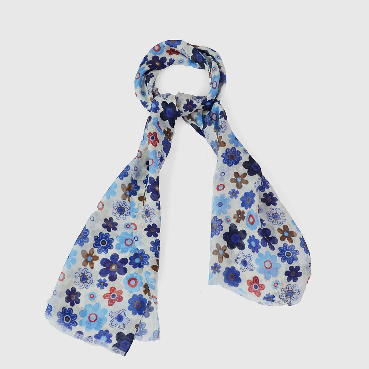 Linen silk scarf with flowers