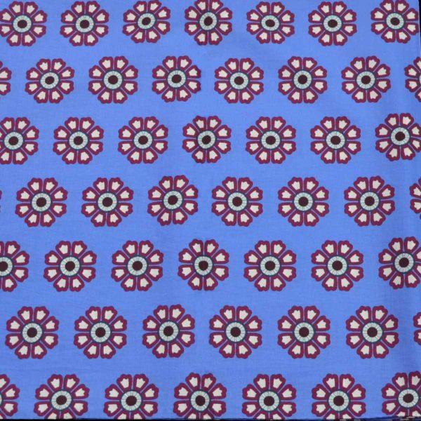 Foulard cotone seta celeste fiori geometrici